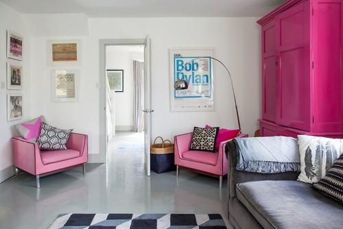 Modern Living Room Design - Shocking Pink